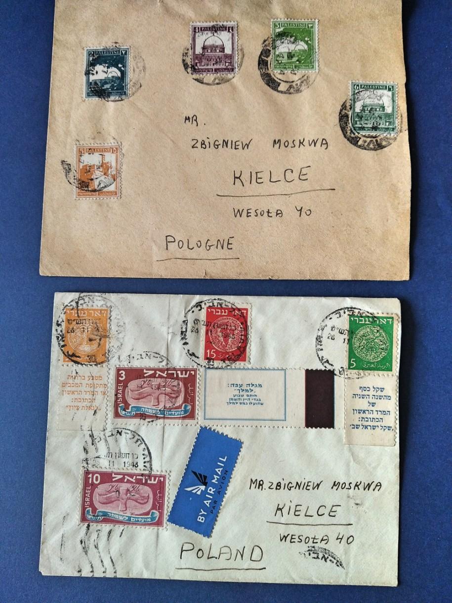 Polonicum: dwie koperty wysłane przez pana Szlomo Szalmoni do kolegi-filatelisty zKielc. Pierwszy list został wysłany wmarcu 1947 r. zBrytyjskiego Mandatu Palestyny, zaś drugi wlistopadzie 1948 rz Izraela. Pan Szalmoni wciągu tego roku nie zmienił swojego adresu zamieszkania przy ulicy Herzla wBat Jam. Drugi list ofrankowany jest zarówno znaczkami Doar Iwri, jak inowymi znaczki znazwą Izrael.